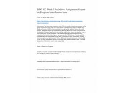 NSG 302 Week 5 Individual Assignment Report on Progress//tutorfortune.com