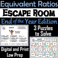 Equivalent Ratios Game: Escape Room End of Year Math Activity