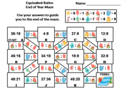 Equivalent Ratios Activity: End of Year/ Summer Math Maze