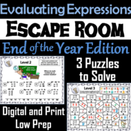 Evaluating Algebraic Expressions Game: Escape Room End of Year Math Activity