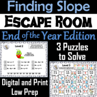 Finding the Slope Game: Escape Room End of Year Math Activity