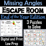 Solving for Missing Angles Game: Geometry Escape Room End of Year Math Activity