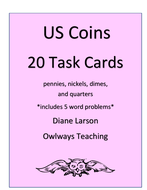 20 US Coins Task Cards in Black/White
