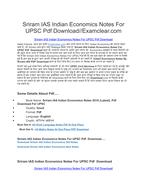 Sriram IAS Indian Economics Notes For UPSC Pdf Download by