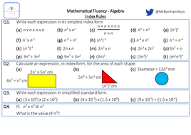 Index Rules with Algebra - Fluency: Directed Numbers, Area and ...