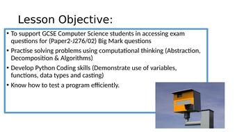 Computer Science J276/02 Computational thinking, algorithms and programming  Lesson