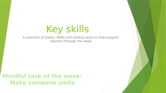 Key skills- Monday to Friday