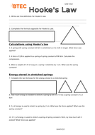BTEC Applied Science Unit 5 Physics Hooke's Law Worksheet with Solutions