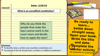 AQA 9-1 Citizenship GCSE Politics and Participation: Should the UK have a written constitution?