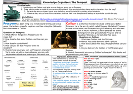 Ks3 The Tempest Knowledge Organiser Teaching Resources