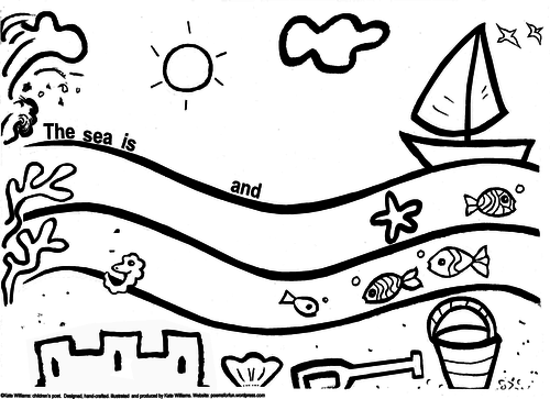 Seaside writing + colouring sheet - simple