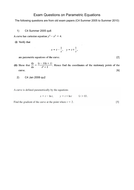 Parametric Equations A-Level Past Paper Questions (OCR B: MEI)