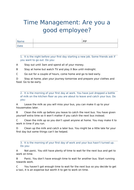 Questionnaire: preparing for work experience/ work; time management.