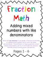 Adding Mixed Numbers Like Denominators Fractions Worksheets