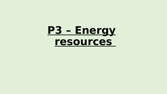 P3 - Energy resources summary