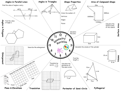 5 GCSE Foundation Mixed Revision Clocks with Answers (FREE