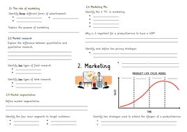 GCSE Business Studies Marketing Revision Poster OCR ...