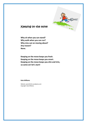 Keeping on the move - fitness rhyme for all ages