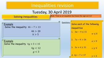 GCSE Maths : Inequalities Revision KS4
