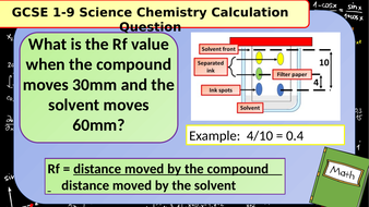 £1 ONLY: 100 GCSE Chemistry (Science) Rf Calculation Revision Questions