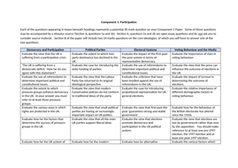 Components 1 and 2 - Potential Exam Questions (Edexcel)