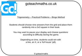 Trigonometry - Real-Life Problems - Bingo by goteachmaths   Teaching