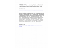 BSHS 355 Week 5 Learning Team Assignment Key Concepts Study Guide//tutorfortune.com
