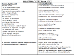 Unseen Poetry AQA May 2017 Exam Autumn and Today