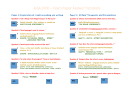 GCSE English 8700 exam paper cheat sheet/answer template by Tyra330