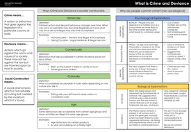 AQA A Level Sociology - Crime and Deviance - Completed Knowledge organisers