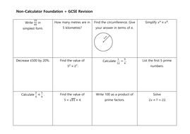 GCSE Non Calculator Revision Mats: Higher and Foundation