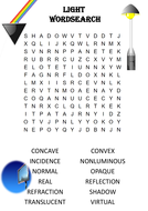 Physics Word Search: Light