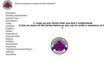 Macbeth Revision task- Use interesting vocabulary to summarise plot.