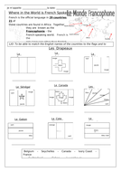 French - Le Monde Francophone - Worksheets