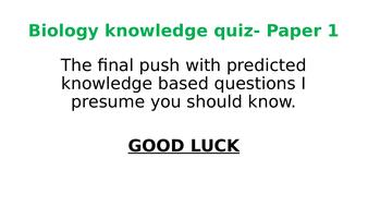Biology Paper 1 Revision quiz- Predicted topics 2019 AQA Trilogy