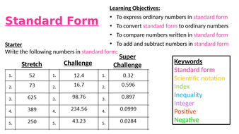 standard form 52  Standard Form by Sarahb5 | Teaching Resources