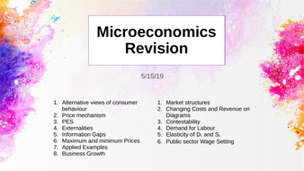 Microeconomics Revision; A Level Economics