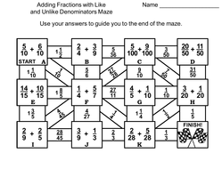 Adding Fractions with Like and Unlike Denominators Game