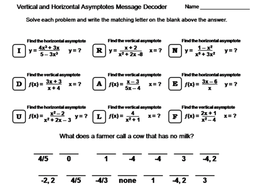 Vertical and Horizontal Asymptotes Activity: Math Message Decoder