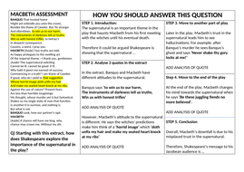 Macbeth supernatural prep lesson and grade 9 model answer and writing frame for lower ability