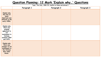 Exam Question Planning Sheets: Explain why... USA Conflict at Home and Abroad