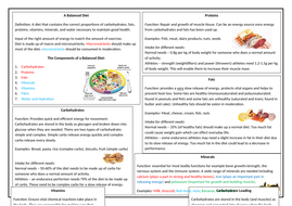OCR GCSE PE Diet & Nutrition Revision Sheet