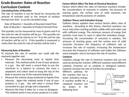 AQA GCSE: Rates of Reaction Revision: Chemistry Paper 2