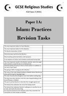 Islam: Practices (AQA GCSE Religious Studies Paper 1) - student revision activities booklet