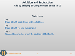 Add by bridging 10 using number bonds to 10 - Teaching Presentation - Year 1