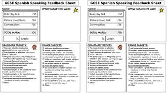 GCSE Spanish Speaking Feedback Sheet