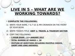 BTEC Level 2 - Travel and tourism - Unit 1 - lesson 1