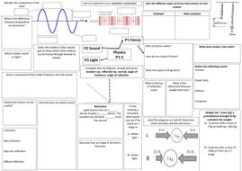 Year 7 Physics P1-3 Broadsheet with ANSWERS