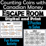 Counting Coins With Canadian Money Game: Escape Room Math