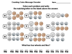 Counting Coins with Canadian Money Activity: Math Message Decoder